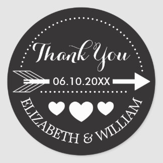 Black and White Heart Wedding Thanks - Arrow Motif Round Sticker