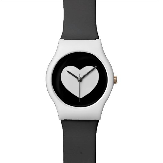 Black and White Heart Wristwatch