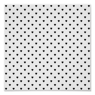Black and White Hearts Pattern. Poster