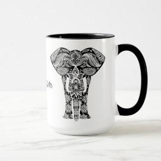 Black and White Henna Elephant Mug
