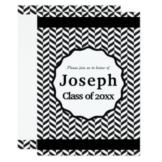 Black and White Herringbone Graduation Card