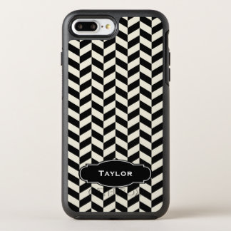Black and White Herringbone Pattern with Monogram OtterBox Symmetry iPhone 7 Plus Case
