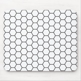 Black and White Hexagon Geometric Pattern Mouse Pad