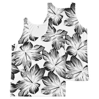 Black and white hibiscus All-Over-Print tank top