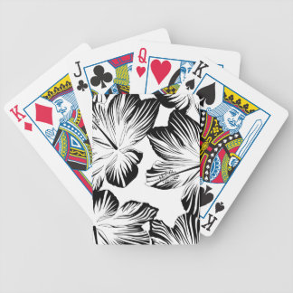 Black and white hibiscus bicycle playing cards