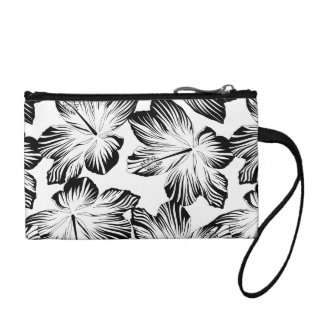 Black and white hibiscus coin purse