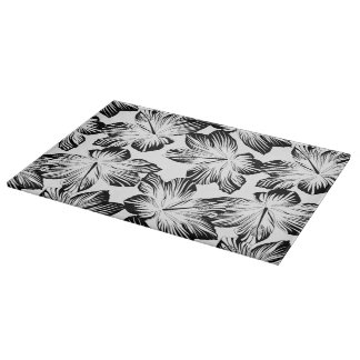 Black and white hibiscus cutting board