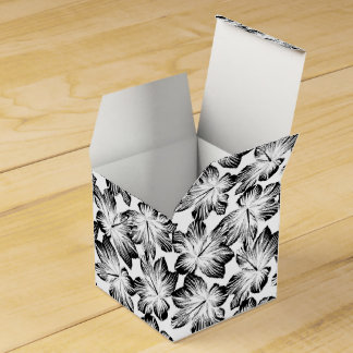 Black and white hibiscus favor box
