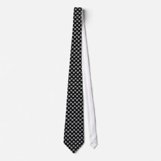 Black and White Hibiscus Floral Pattern Tie