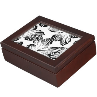 Black and white hibiscus keepsake box