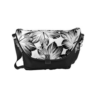 Black and white hibiscus messenger bags