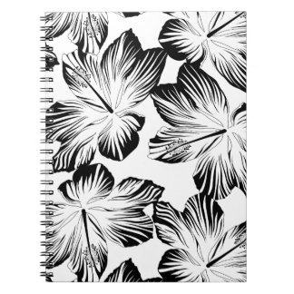 Black and white hibiscus notebook
