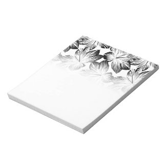 Black and white hibiscus notepad