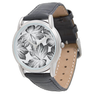 Black and white hibiscus watch