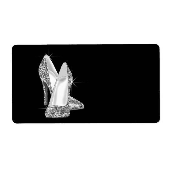 Black and White High Heel Shoe Shipping Label