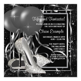 "Black and White High Heels Womans Birthday Party 5.25"" Square Invitation Card"