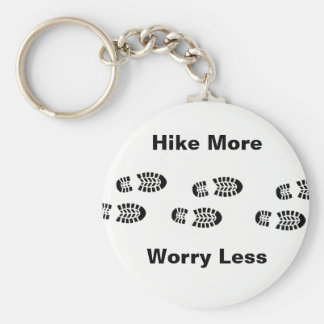 Black and White Hike More Worry Less Key Chain