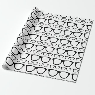 Black and White Hipster Retro Glasses Pattern Wrapping Paper