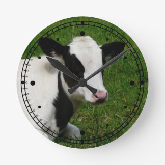 Black and White Holstein Cow in Grassy Pasture Wallclock