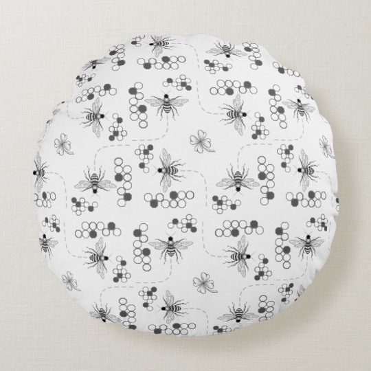Black and White Honey Bees and Clover Round Pillow