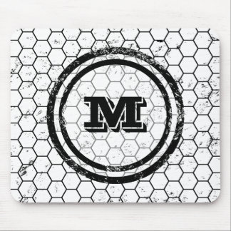 Black and white Honeycomb Monogram Geometric Mouse Pad