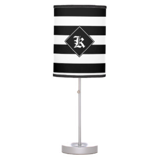 Black and White horizontal lines Desk Lamp