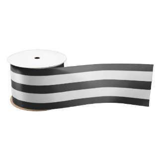 Black and White Horizontal Striped Satin Ribbon