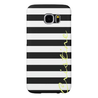 black and white horizontal stripes with name samsung galaxy s6 cases