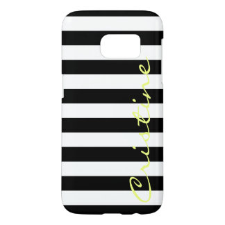 black and white horizontal stripes with name samsung galaxy s7 case
