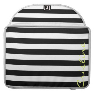 black and white horizontal stripes with name sleeve for MacBooks