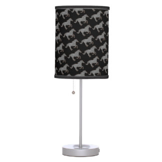 black and white horses running table lamps
