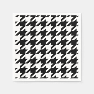 Black and White hounds tooth Paper Napkin