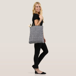 Black and white hounds tooth pattern tote bag