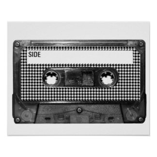 Black and White Houndstooth Cassette Poster