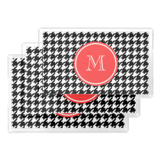 Black and White Houndstooth Coral Monogram Acrylic Tray