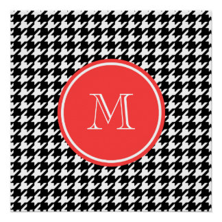 Black and White Houndstooth Coral Monogram Perfect Poster