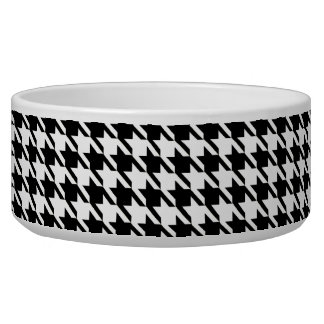Black and White Houndstooth Dog Bowls