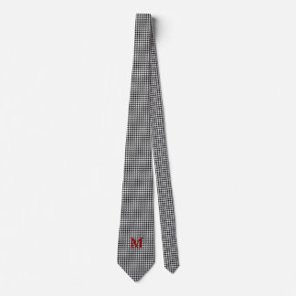 Black and White Houndstooth Monogrammed Tie