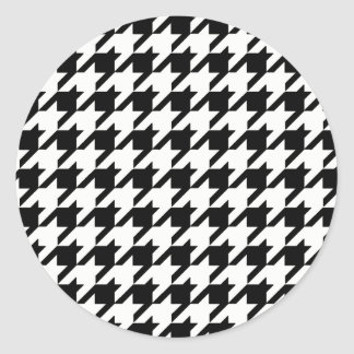 Black and White Houndstooth Pattern Classic Round Sticker