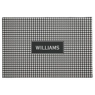 Black and White Houndstooth Pattern Doormat