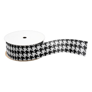 Black and White Houndstooth Pattern Grosgrain Ribbon