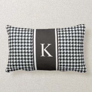 Black and White Houndstooth Pattern Lumbar Pillow