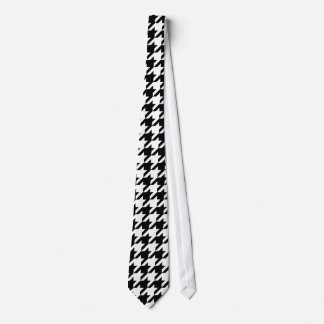 Black and white houndstooth pattern neck tie