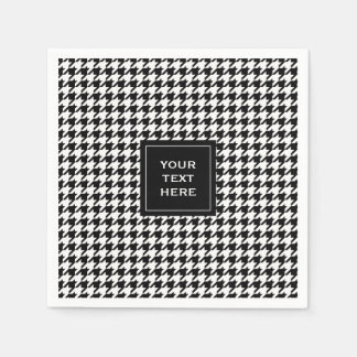 Black and White Houndstooth Pattern Paper Napkin