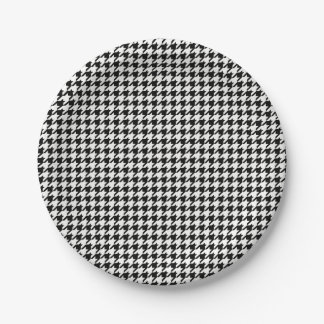 Black and White Houndstooth Pattern Paper Plate