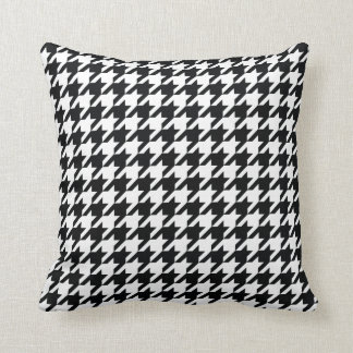 black and white houndstooth pattern throw pillow