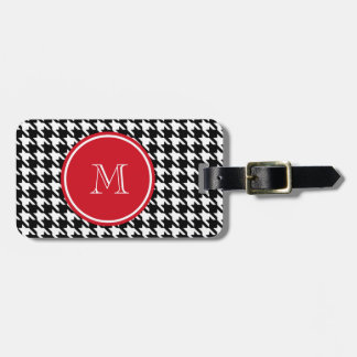 Black and White Houndstooth Red Monogram Luggage Tag