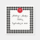 Black and White Houndstooth Red Monogram Paper Napkin