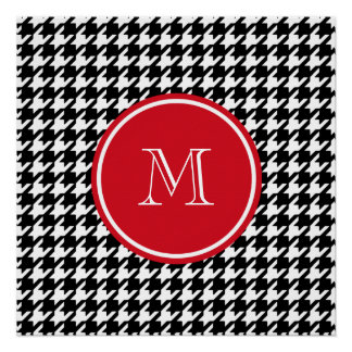 Black and White Houndstooth Red Monogram Perfect Poster