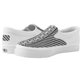 Black And White Houndstooth With Floral Lace Slip-On Sneakers